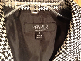 Black and White Houndstooth Button Up Blazer by Kasper Size 12 Padded Shoulders image 3