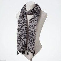 Black and White Print Scarf with Tassels image 2