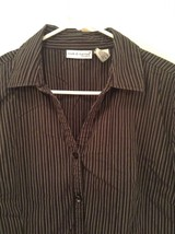 Black and White Striped Long Sleeve Button Up Shirt Croft and Burrow Size Large image 2