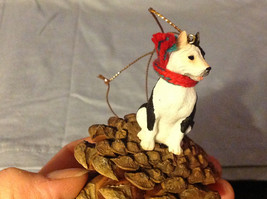 Black and White Terrier Animal Ornament on Real Red Pine Cone Real Fabric Scarf image 2