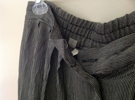 Black and White Skinny Striped Button Up Flowing Skirt by Rafaella Size Large image 5