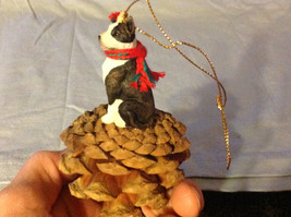 Black and White Terrier Animal Ornament on Real Red Pine Cone Real Fabric Scarf image 5