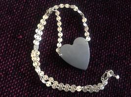 Black oxidized heart unique chain Necklace Zina Kao Pearl accent close USA made image 2