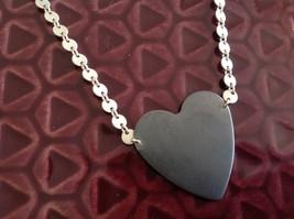 Black oxidized heart unique chain Necklace Zina Kao Pearl accent close USA made image 3