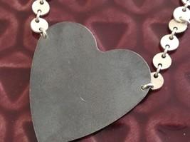 Black oxidized heart unique chain Necklace Zina Kao Pearl accent close USA made image 5