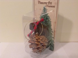 Black buffalo with scarf on pine cone Christmas winter holiday ornament  NIB image 2