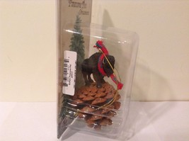 Black buffalo with scarf on pine cone Christmas winter holiday ornament  NIB image 3