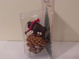 Black buffalo with scarf on pine cone Christmas winter holiday ornament  NIB image 6