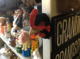 Black chicken hen red comb with real feathers refrigerator magnet in 3D image 2