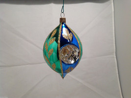 Blue Green Oval Blown Glass Gold Glitter Leaves Holiday Ornament image 2