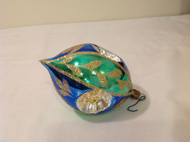 Blue Green Oval Blown Glass Gold Glitter Leaves Holiday Ornament image 4