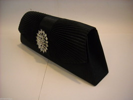 Black pleated silk  Trapezoid Clutch Purse w Rhinestone Medallion on Front Flap image 7