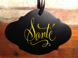 Black sign with lettering Sante yellow lettering vintage shape image 2