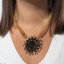 Black stone pendant with rose gold tone statement pendant necklace image 2