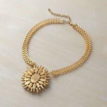 Black stone pendant with rose gold tone statement pendant necklace image 3