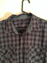 Blue Green Red Plaid Button Up Long Sleeve GAP Shirt 2 Front Pockets Size Large image 2