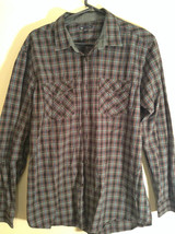Blue Green Red Plaid Button Up Long Sleeve GAP Shirt 2 Front Pockets Size Large image 3