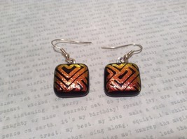 Black with Orange Yellow Metallic Accents Square Shaped Glass Dangling Earrings image 2