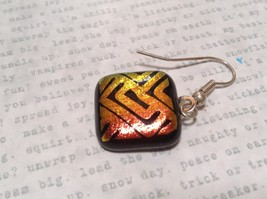 Black with Orange Yellow Metallic Accents Square Shaped Glass Dangling Earrings image 4