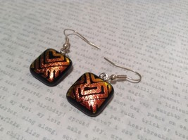 Black with Orange Yellow Metallic Accents Square Shaped Glass Dangling Earrings image 3