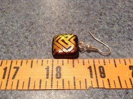 Black with Orange Yellow Metallic Accents Square Shaped Glass Dangling Earrings image 5
