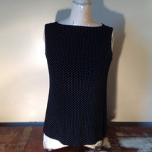 Black with White Dots Dressy Blouse NO TAG Sleeveless See Measurements Below image 2