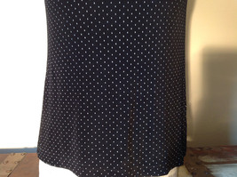 Black with White Dots Dressy Blouse NO TAG Sleeveless See Measurements Below image 4