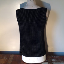 Black with White Dots Dressy Blouse NO TAG Sleeveless See Measurements Below image 6