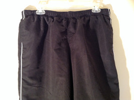Black with White Track Lined Gym Pants Elastic Waistband Three Hearts Size PL image 2