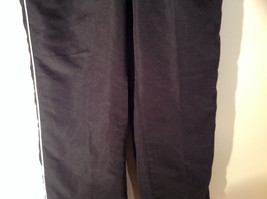 Black with White Track Lined Gym Pants Elastic Waistband Three Hearts Size PL image 3