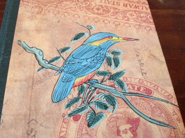 Blank Paged Handcrafted Asian Look  Journal with Blue Bird on Cover image 3