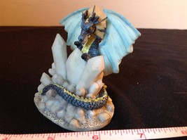 Blue Dragon Statue White Crystals Light Blue Wings image 5