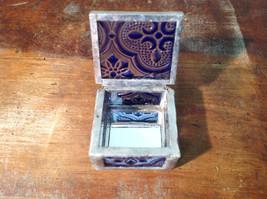 Blue Embossed Glass Ring Box Mirrored Bottom Paisley Designed Glass Handmade image 2