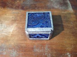 Blue Embossed Glass Ring Box Mirrored Bottom Paisley Designed Glass Handmade image 4