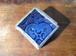 Blue Embossed Glass Ring Box Mirrored Bottom Paisley Designed Glass Handmade image 5