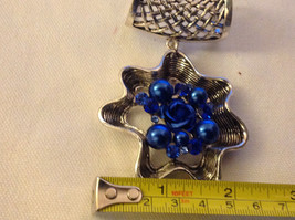 Blue Crystals and Stones with Blue Rose in Center Silver Tone Scarf Pendant image 3