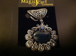 Blue Crystals with Large Black Stone Silver Toned Vintage Style Scarf Pendant image 2
