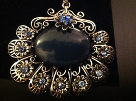 Blue Crystals with Large Black Stone Silver Toned Vintage Style Scarf Pendant image 3