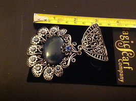 Blue Crystals with Large Black Stone Silver Toned Vintage Style Scarf Pendant image 4
