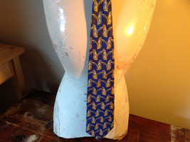 Blue Gold Fierte SRL Silk Tie Made in Italy Length 60 Inches image 4
