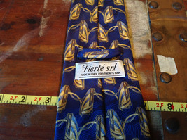 Blue Gold Fierte SRL Silk Tie Made in Italy Length 60 Inches image 5