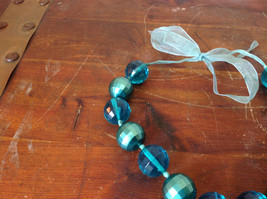 Blue Green Bead Necklace on Fabric Chain Clear and Opaque Beads Adjustable image 3
