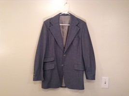 Blue Gray Light Stripes Wool Handmade Jacket Vest and  Pant 3 piece Suit image 2