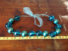 Blue Green Bead Necklace on Fabric Chain Clear and Opaque Beads Adjustable image 4