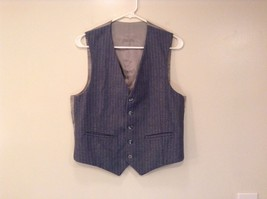 Blue Gray Light Stripes Wool Handmade Jacket Vest and  Pant 3 piece Suit image 9