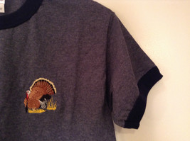 Blue Gray with Dark Blue Trim Short Sleeve T Shirt Turkey Embroidered Size Small image 5