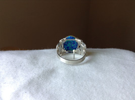Blue Multi Hue Synthetic Opal Stone Handmade Wire Real Silver Ring Size 7 image 3