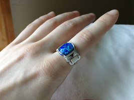 Blue Multi Hue Synthetic Opal Stone Handmade Wire Real Silver Ring Size 7 image 4