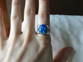 Blue Multi Hue Synthetic Opal Stone Handmade Wire Real Silver Ring Size 7 image 5
