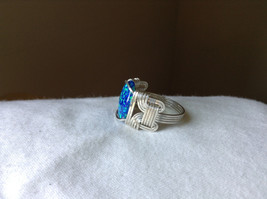 Blue Multi Hue Synthetic Opal Stone Handmade Wire Real Silver Ring Size 7 image 2